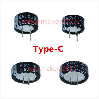 5.5V 0.1F//0.22F//0.33F//0.47F//0.68F//1F//1.5F//4F Farad Capacitor Supercapacitor