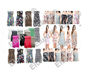 New Ladies Sheering Boob Tube Gather Bandeau Summer Style Casual Mini Dress Tops