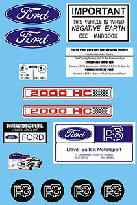 Ford Escort RS2000 Bajo Capó Decal Sticker Set MK1 & MK2 AVO David Sutton