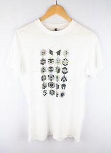 Nudie-Jeans-Hombres-Camiseta-Cuello-Redondo-Informal-Blanca-De-Mangas-Cortas-Algodon-Talla-S
