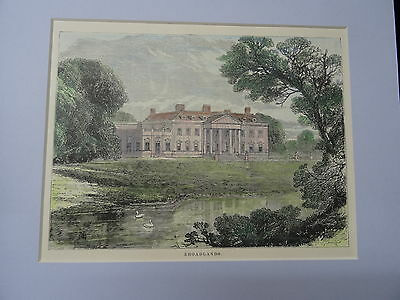 Hampshire Art C1895 Hand Coloured & Mounted Print/engraving Of Broadlands