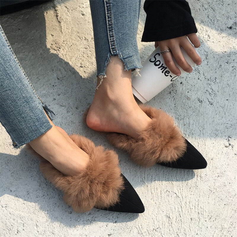 Winter Warm donna Real Rabbit Fur Suede Slipper Mules Flat sautope Casual Seals