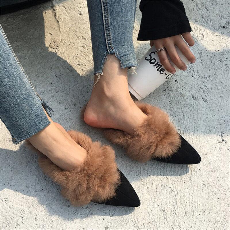 Winter Warm Donna Real Rabbit Fur Suede Slipper Mules Flat Scarpe Casual Sandals