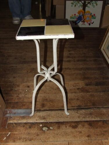 Vintage 1950s Small 4 Tile Top Wrought Wrot Iron Patio Table