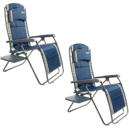 2 x Quest Leisure Ragley Pro Relax Chair with Side Table Garden BBQ Camping