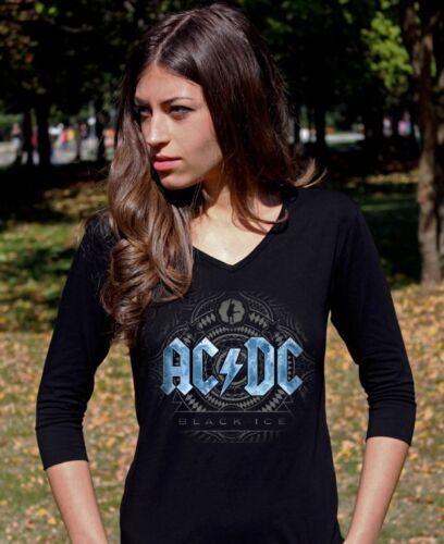 AC DC Black Ice Blue  Langarm 3//4 damen lady T-shirt Shirt Rock tee