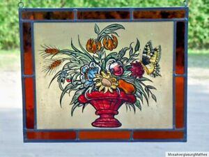 Bleiverglasung-Fensterbild-seltene-Bernhardt-Glasmalerei-034-Sommerblumenstrauss-034
