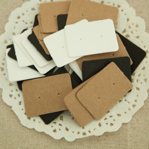 50//100X Display Type Earring Ear Studs Holder Hang Hanging Kraft Paper Cards /_ch