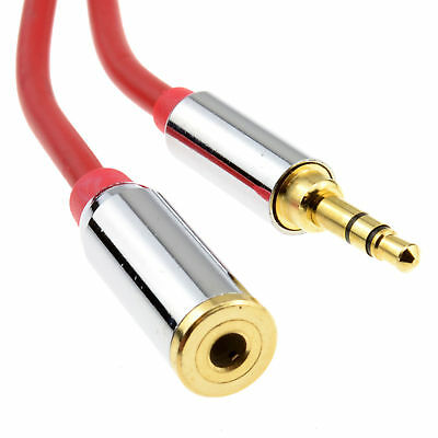 1.5m PRO METAL RED 3.5mm Stereo Jack Headphone Extension Cable 006918