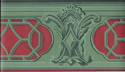 KATZENBACH & WARREN VICTORIAN GREEN / RED ARCHITECTURAL TRIM WALLPAPER BORDER