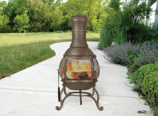 Chiminea Fireplace Outdoor Patio Fire Pit Wood Burning Heater Cast