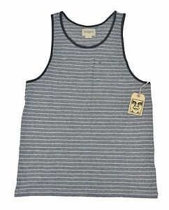 1799652a0c4683 Details about Obey REDDING TANK Navy Blue White Striped Front Chest Pocket  Men s Tank Top
