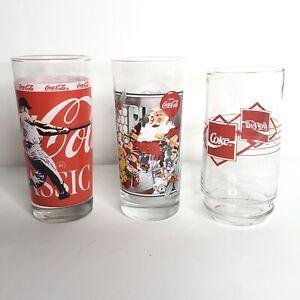 1990s-Vintage-Coca-Cola-Glasses-Lot-Mickey-Mantle-Baseball-Christmas-Classic