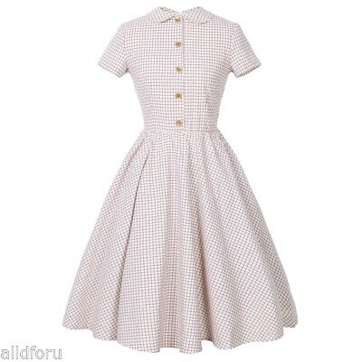 Women New Vintage Plaids Checks Short Sleeve Floral Evening Party Cocktail Dress