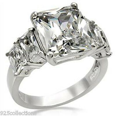 316 Stainless Steel 12x10 mm April Clear CZ Stone Lady Engagement Ring Size 5-10