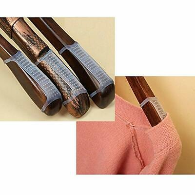 BCP 100 Pcs Clear Non-Slip Rubber Clothes Hanger Grips Clothing Hanger Strips