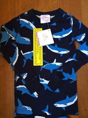 Hanna Andersson Boys Long Johns Pajamas PJs 100 4 Navy Sharks Organic 2 Piece