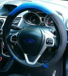 Steering-Wheel-Cover-Blue-Black-Soft-Leather-Look-Comfort-Grip-For-Ford