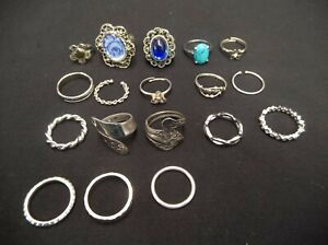 MIXED-LOT-OF-18-SILVER-TONE-METAL-FASHION-JEWELRY-FINGER-RINGS-VINTAGE-TO-NOW