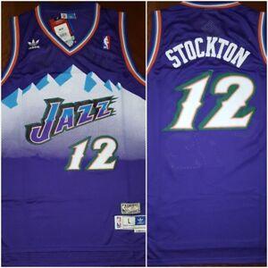 more photos 95c83 39e85 Details about Retro Utah Jazz John Stockton #12 Purple Throwback Mens LARGE  Basketball Jersey
