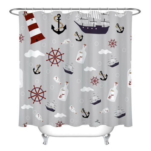 Ocean Drift Bottle Anchor Lighthouse Fabric Shower Curtain Set Bathroom w// Hooks