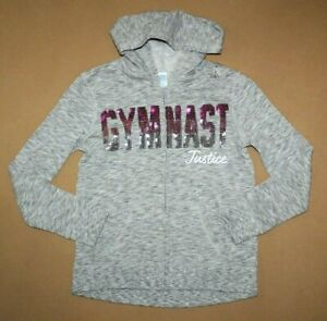 NEW-JUSTICE-Girls-Gymnast-Gray-Hoodie-Size-8