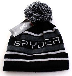 a957e649cd2 Spyder Black   Gray Knit Lined Cuff Pom Beanie Skull Cap Men s One ...