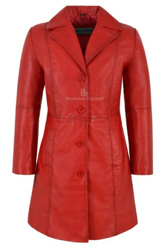 TRENCH Ladies Leather Jacket Red Classic Knee-Length Designer Lambskin Coat 3457