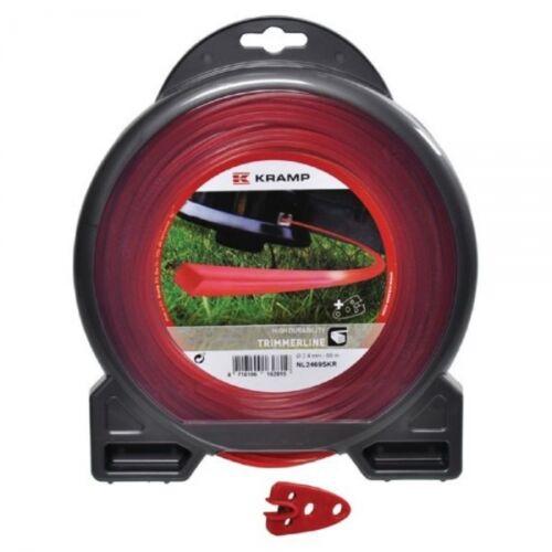 Kramp NL3044SKR Mähfaden 4 Kant für alle Motorsense Nylon rot 3,0 mm x 44 m
