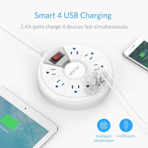 BESTEK Round Surge Protector with 6-Outlet 15A 125V 4 USB Upgraded Power Strip