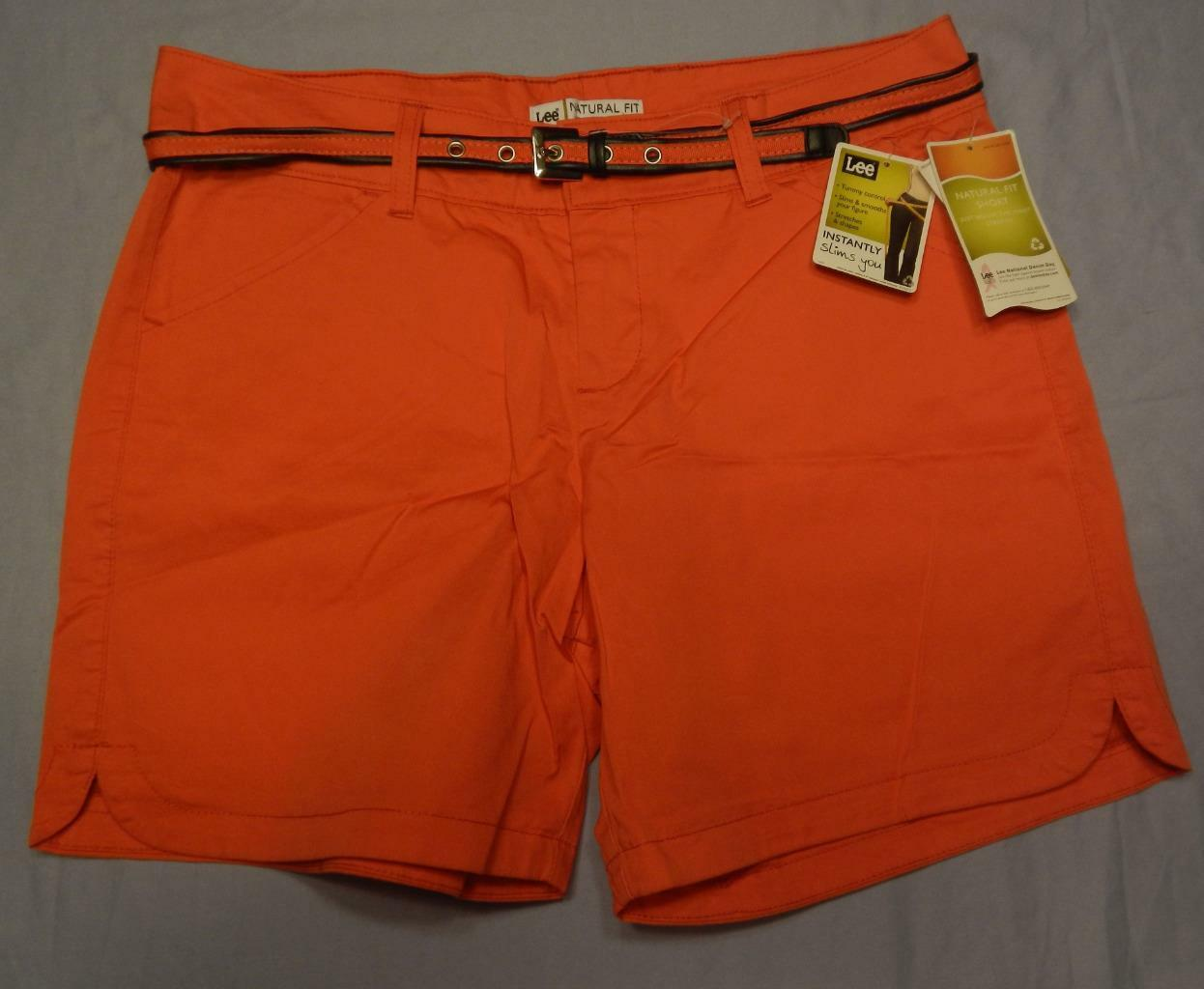 New Lee women's natural fit shorts size 8M with belt