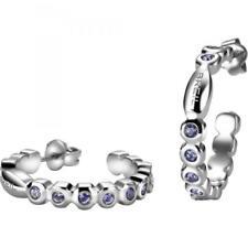 Orecchini Donna BREIL ROLLING DIAMONDS TJ1572 Cerchio Acciaio Swarovski Viola