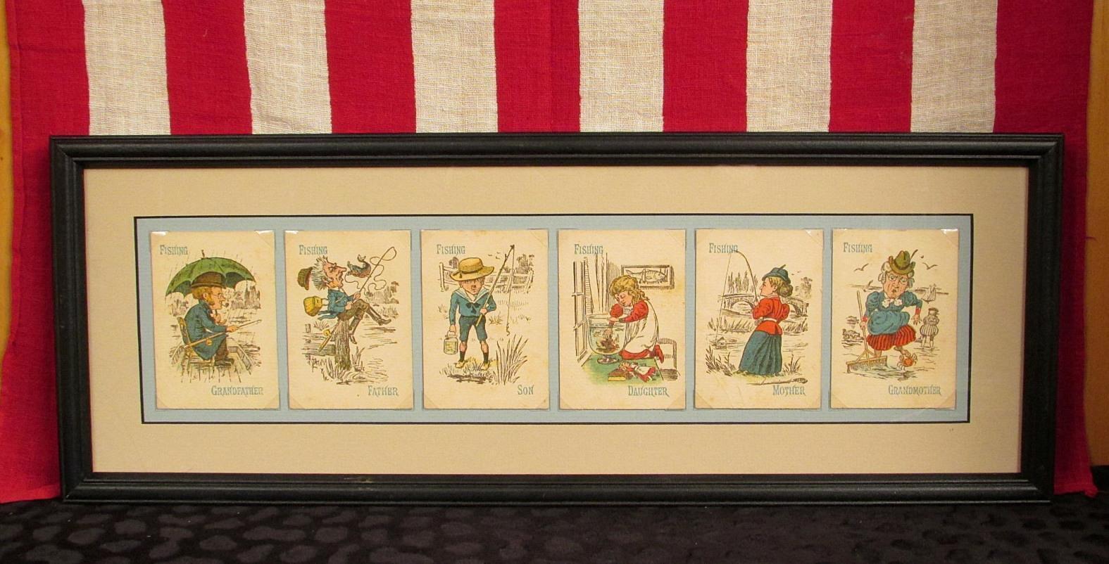 Vintage Antik Viktorianisch Fischen Thema Spielkarten Gerahmt 1900s Gruppe mit 6