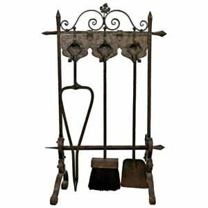 French Art Deco Hand Forged Wrought Iron Fireplace Tool Set Ebay