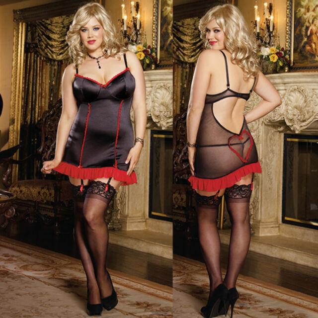 Plus Size Lingerie One Size 1X/2X or 3X/4X Black Gartered Slip Chemise DG8471X