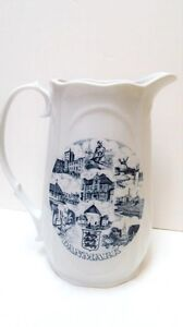 DANMARK Denmark Pitcher Souvenir Attractions BYGDO Blue And White Porcelain