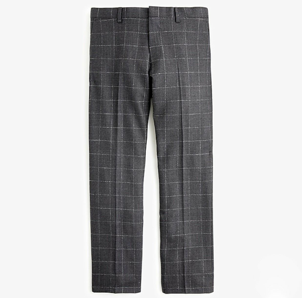 J.CREW LUDLOW SLIM-FIT PANT IN WINDOWPANE WOOL SIZE 32 34 GREY J8480