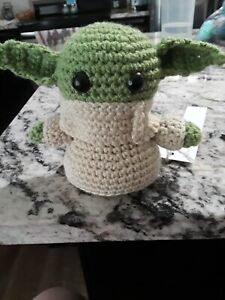 baby yoda stuffed animal crochet handmade 5 1/2 inches, new