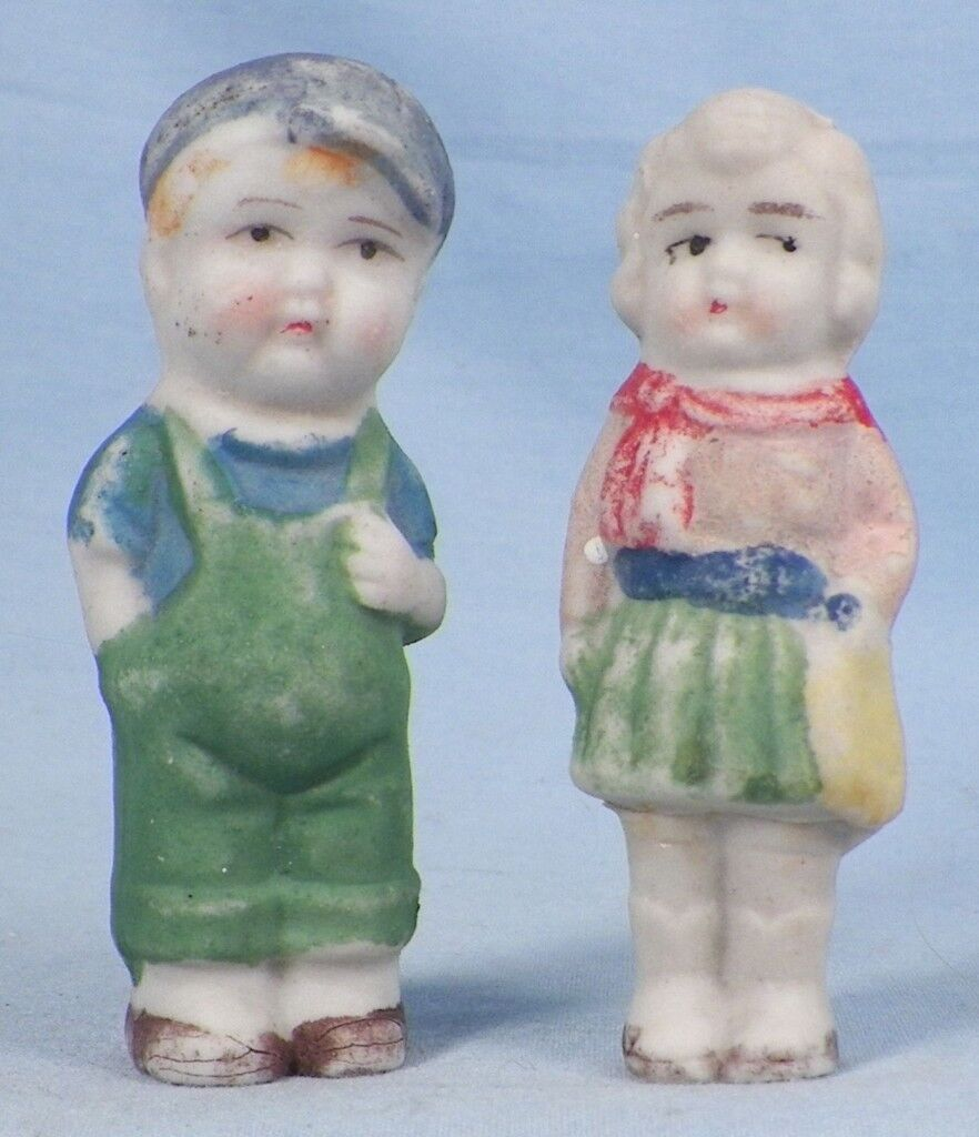 Little Boy & Girl Bisque Penny Dolls Made Japan Vintage Adorable Small