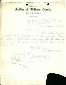 1891 Colfax Washington (WA) Letter Whitman Co.,Washington Mr. J. Shields & Co. C