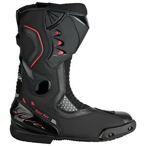 Motorradstiefel-hochwertige-XLS-Racing-Boots-Touringstiefel-schwarz-Gr-41-46