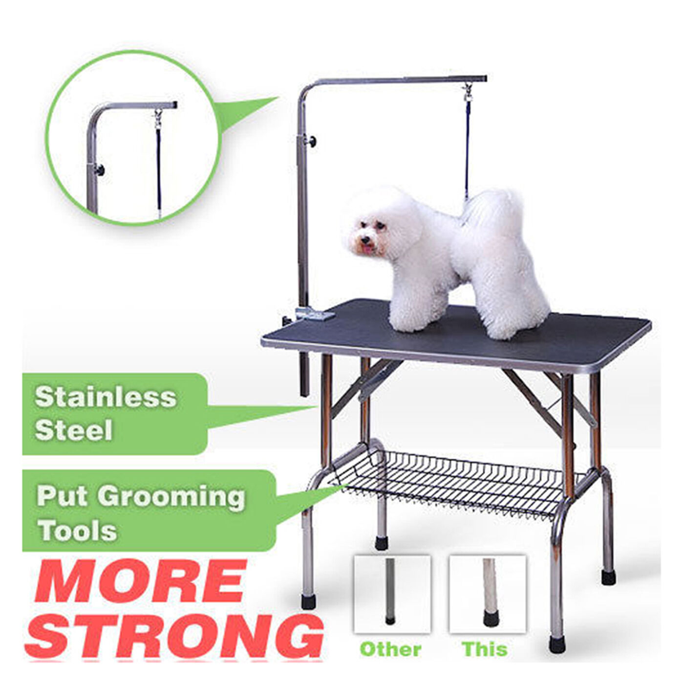 48'' AdjustablePortable Pet Dog Cat Grooming Table Dog Show W Arm &Noose &