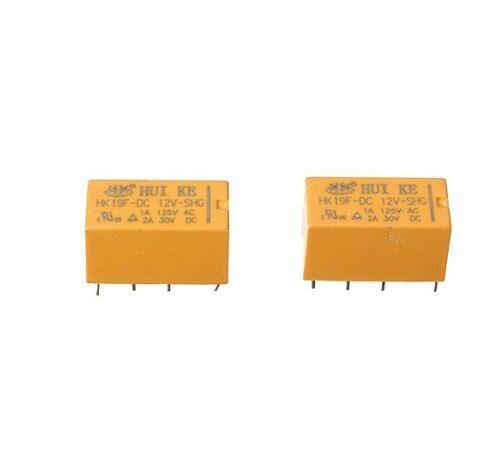 5PCS DC 12V Coil DPDT 8 Pin 2NO 2NC Mini Power Relays PCB Type HK19F