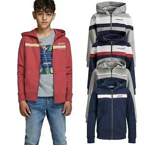 Jack-amp-Jones-Junior-Long-Sleeve-Cardigan-Boys-Hoodie-Zip-Up-Casual-Sweatshirts