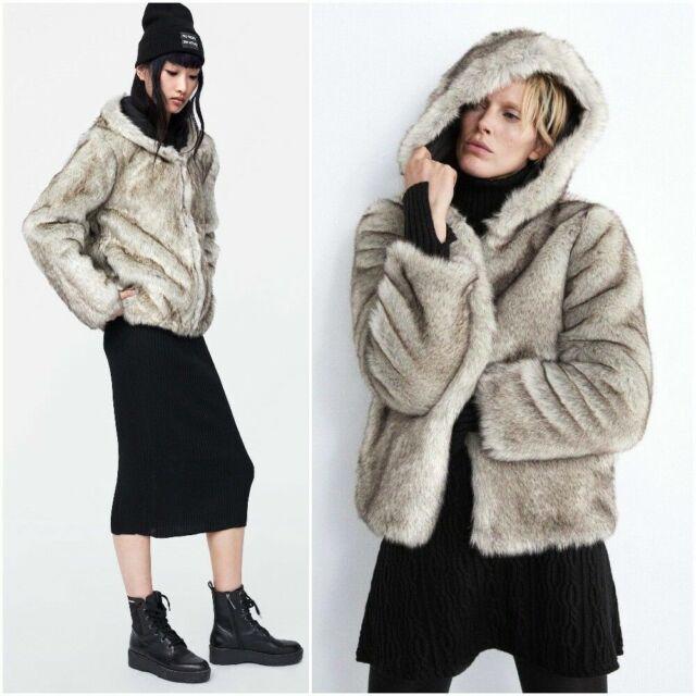 Faux Fur Jacket With Hood Zara, Zara Faux Fur Coat With Hood