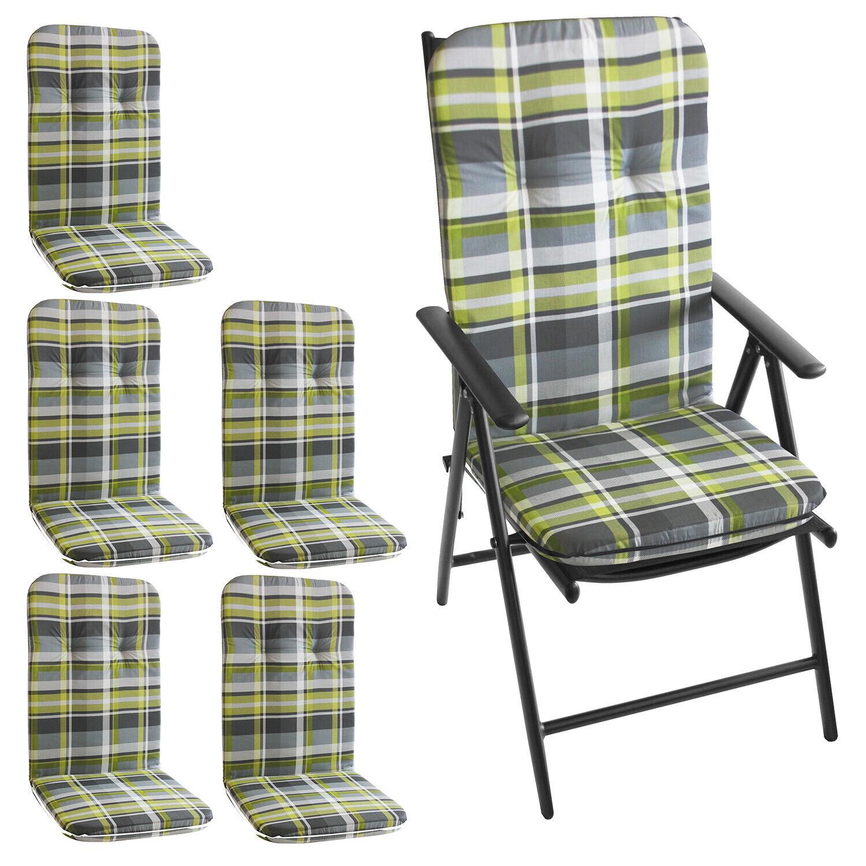 6x Hochlehner Polsterauflage 115x50cm Stuhlauflage Gartenstuhlauflage Gelb Grau