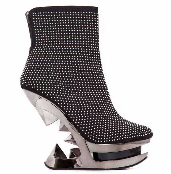 Hades MONROE Black Studded Ankle Boots Chrome Wedge Pyramid 5  Heels Booties