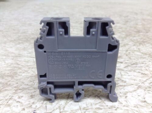 Entrelec M 6//8 5118 Gray Grey Wire Terminal Block M685118 M6//8 5118 Lot of 6