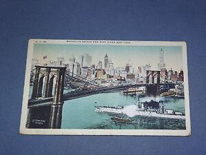 VINTAGE BROOKLYN BRIDGE OVER EAST RIVER    NEW YORK   POSTCARD