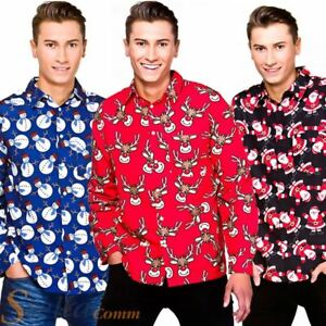 Image is loading Mens-Christmas-Shirts-Long-Sleeved-Xmas-Fancy-Dress- 8878d3019534